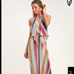 NWT Lulu's Esplanade Multi Striped Halter Dress